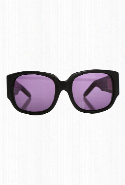 Alexander Wang Aw/8/1 Black Leather Rectangle Sunglasses