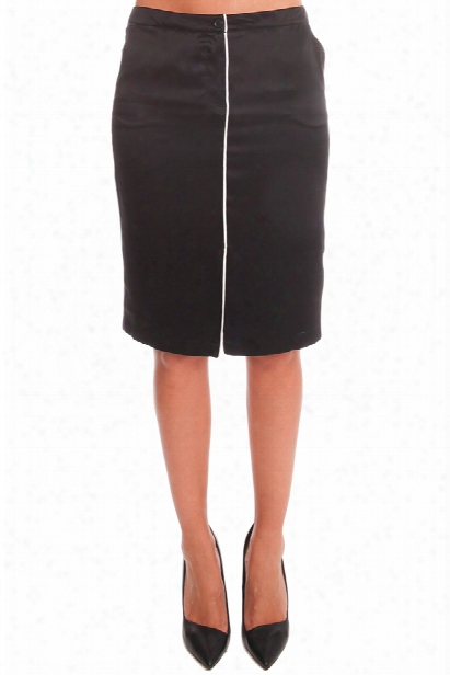 Atm Self Piping Silk Pencil Skirt