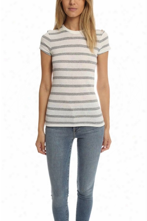 Atm Striped Cap Sleeve Ribbed Crew