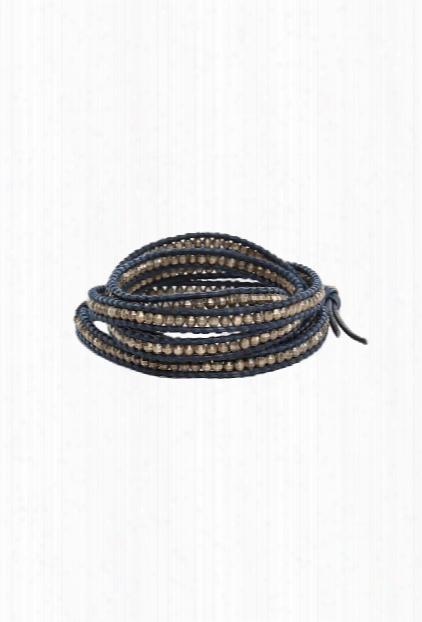 Chan Luu Antique Silver Bead On Navy Leather