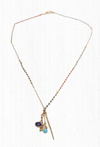 Chan Luu Aqua Multi Gold Dagger Pendant Necklace
