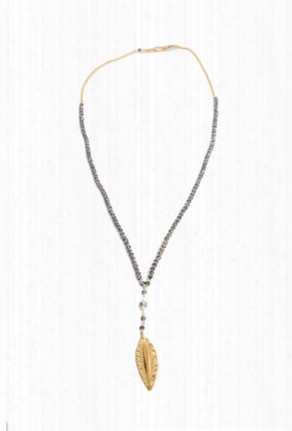 Chan Luu Denim Crystal Necklace With Gold Leaf Charm