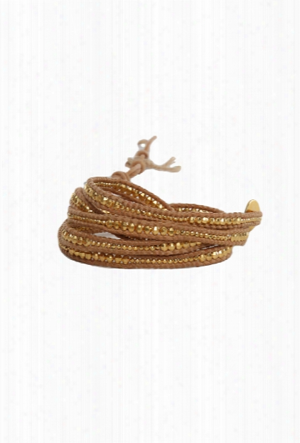 Chan Luu Gold Bead Wrap Bracelet On Natural Leather