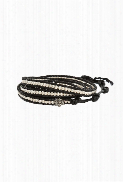 Chan Luu Silver Bead On Black Leather Wrap Bracelet