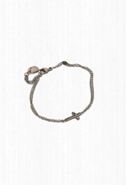 Chan Luu Silver Diamond Cross Bracelet