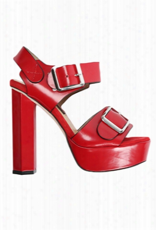 Chrissie Morris Ida Red Suede Crystal Calf