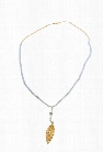 Chan Luu Periwinkle Necklace with Gold Leaf Charm