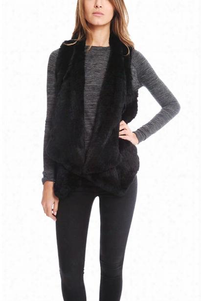 H Brand Audra Rabbit Fur Vest In Black