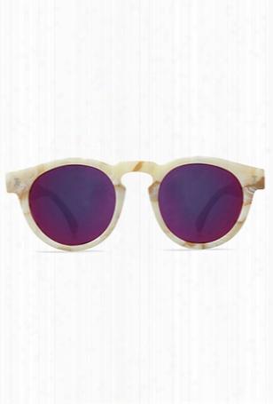 Illesteva Leonard Cream Marble With Pink Lens