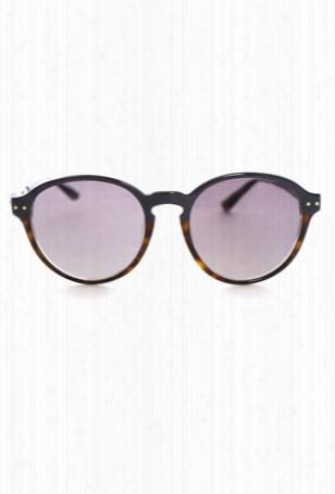 Linda Farrow Luxe 2-tone Round Sunglasses