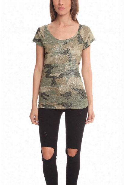 Majestic Filatures Camo Scoop Neck Raglan