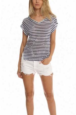 Majestic Filatures Linen Striped V Neck Tee