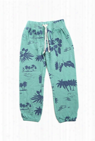 Monrow Kids Green Hawaiin Vintage Sweatpants
