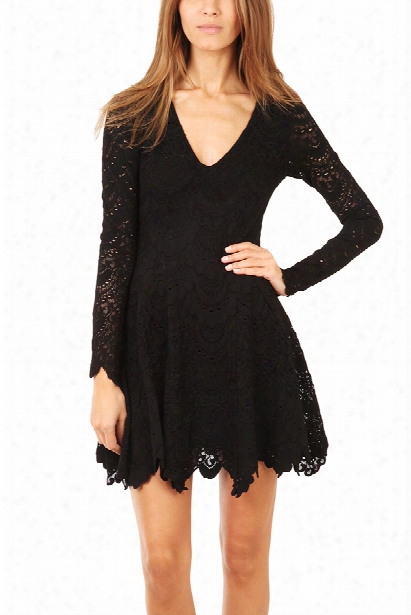 Nightcap Deep V Flirty Spanish Lace Dress