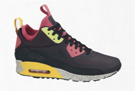 Nike Air Max 90 Sneaker Boot In Gridiron/black/pink Force/volt
