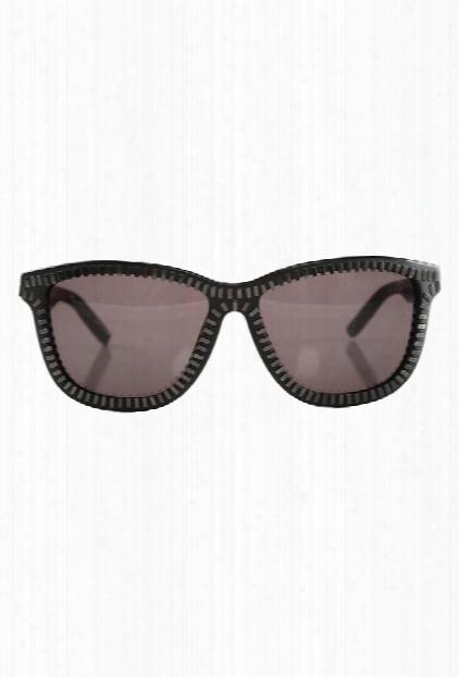 Alexander Wang Black & Nickel Zipper Frame Sunglasses