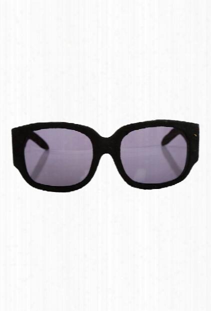 Alexander Wang Black Suede Curve Rectangle Sunglasses