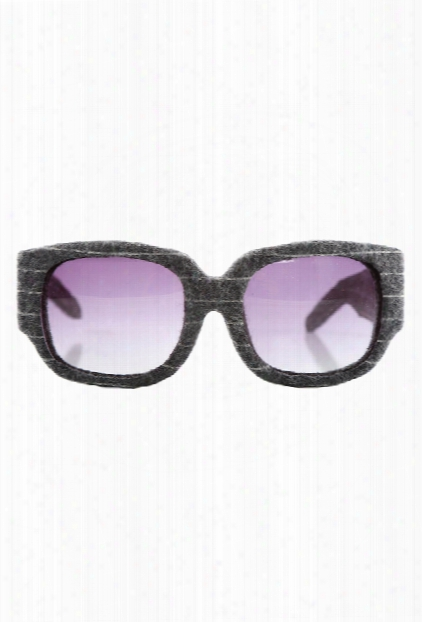 Alexander Wang Grey Pinstripe Curved Rectangle Aw/8/4 Sunglasses