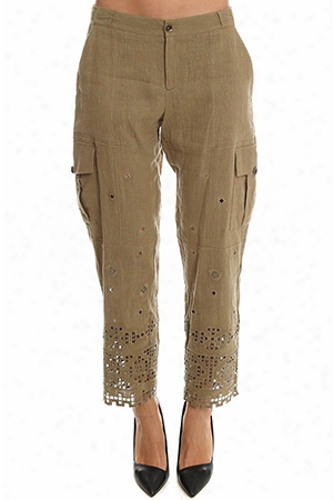 Sea Embroidered Cargo Pants