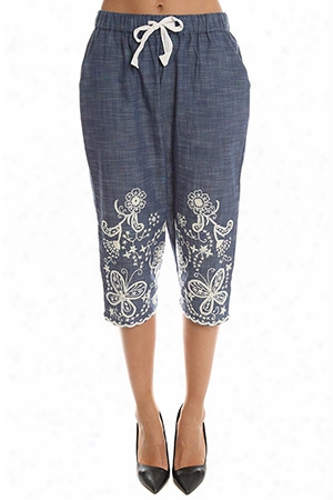 Sea Hand Stitched Cropped Pant