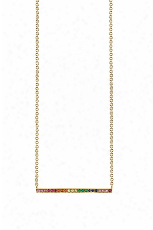 Sydney Evan Long Micropave Bar Necklace