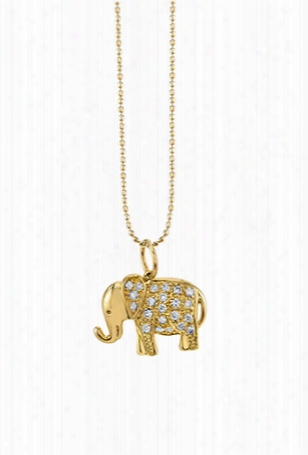 Sydney Evan Small Diamond Elephant Necklace - Yellow Gold