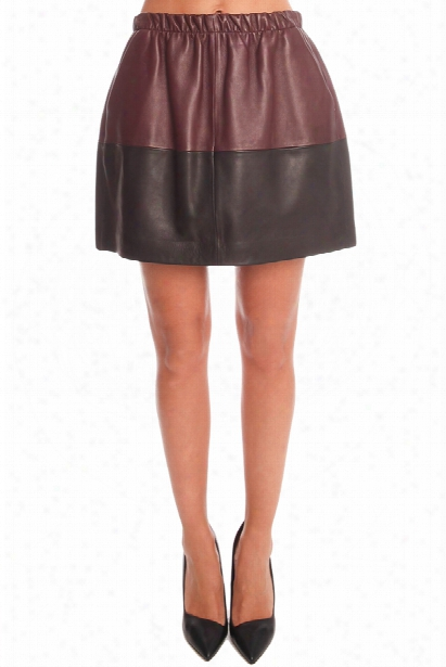 Vince Colorblock Leather Skirt