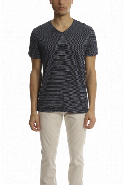Vince Linen Feeder Stripe V Neck Tee