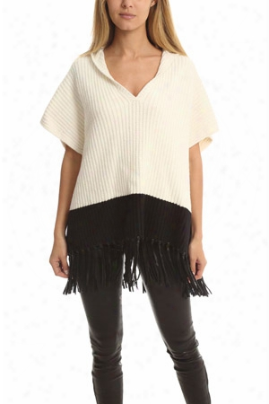 Elizabeth And James Leather-fringe Hooded Cape