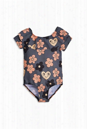 Mini Rodini Flower Ss Swimsuit With Upf 50+