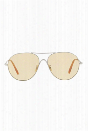 Oliver Peoples Rockmore Brushed Silver + Yellow Wash