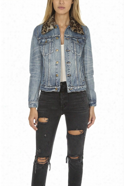 Pam & Gela Denim Jacket With Detachable Fur