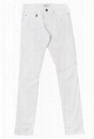 Pierre Balmain White Moto Jean