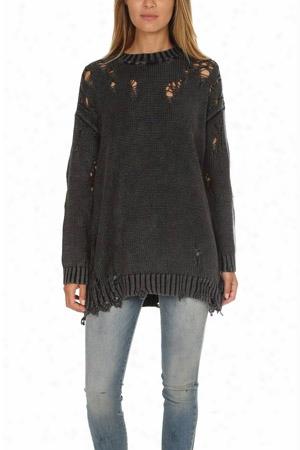R13 Acid Shredded Crewneck Sweater