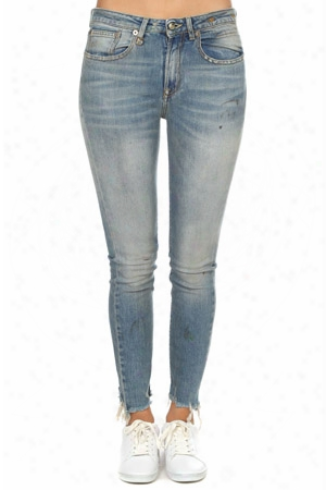 R13 Jenny Mid Rise Distressed Skinny Jeans