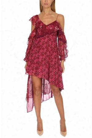 Self-portrait Asymmetric Devore Print Dress