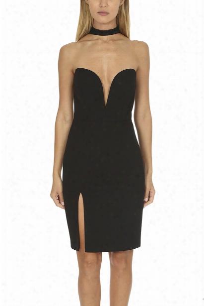 Michelle Mason Strapless Choker Dress