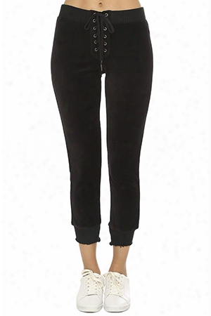 Pam & Gela Cropped Lace Up Sweatpant