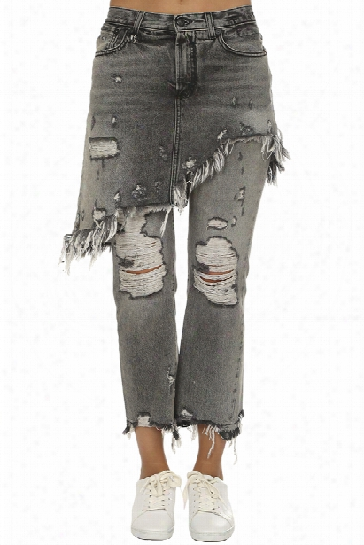 R13 Double Classic Shredded Hem Jean