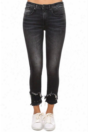 R13 Jenny Mid Rise Skinny With Doubled Shredded Hem