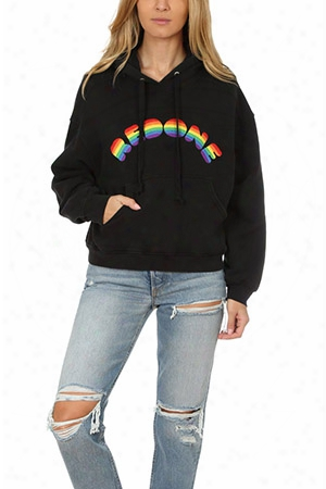 Re/done Rainbow Embroidery Hoody