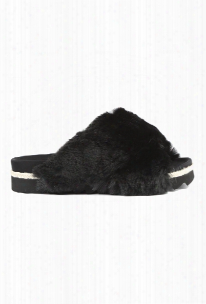 Roam Black Fur Slides