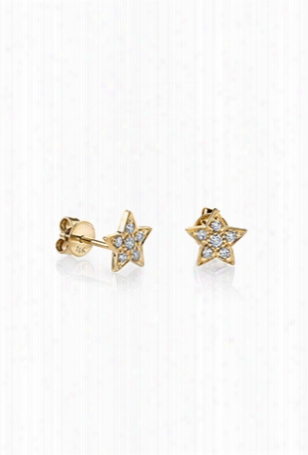 Sydney Evan Pave Diamond Star Stud Earrings - Yellow Gold