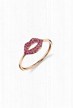 Sydney Evan Pave Ruby Lips Ring - Rose Gold