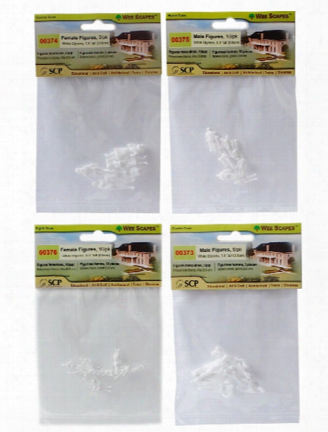 Architectural Model White Styrene Figurines Animals Assorted Pack Of 20