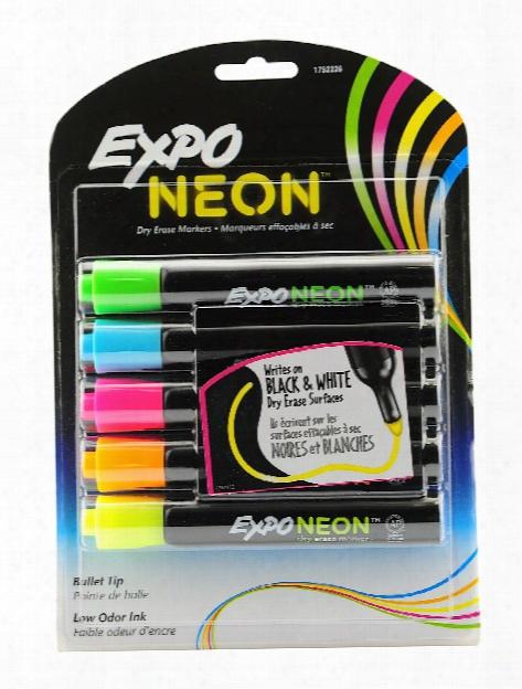 Neon Bullet Tip Dry Eraser Marker Sets Orange, Pink, Yellow, Green, Blue Pack Of 5