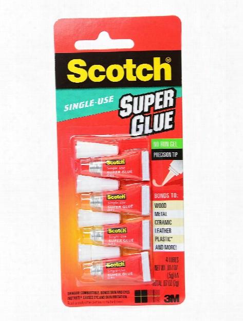 Single Use Super Glue Gel 0.017 Oz. Pack Of 4