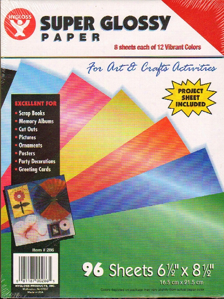Super Glossy Paper 6.5 In. X 8.5 In. 12 Colors Pack Of 96