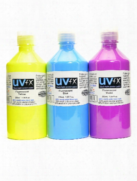 Uvfx Black Light Poster Paint Fluorescent Yellow 250 Ml Bottle