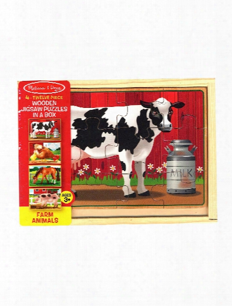 Wooden Puzzles In A Box Farm Animals 4 Puzzles, 12 Pieces Each